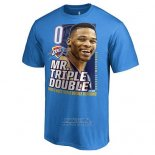 Maglia Manica Corta Oklahoma City Thunder Russell Westbrook Blu Back to Back Triple Double Seasons
