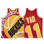Maglia Houston Rockets Yao Ming #11 Mitchell & Ness Big Face Rosso