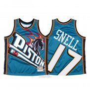 Maglia Detroit Pistons Tony Snell #17 Mitchell & Ness Big Face Blu